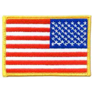 Reversed Embroidered U.S. American flag patch with 100% thread coverage.  Includes heat seal backing for easy uniform b712441fb56